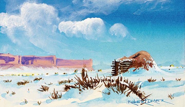 """Hogan in the Snow,"" ca. 1985. Painted by Robert Draper (Diné [Navajo], 1938–2000). Chinle, Navajo Nation, Arizona. 26/6481 (National Museum of the American Indian)"