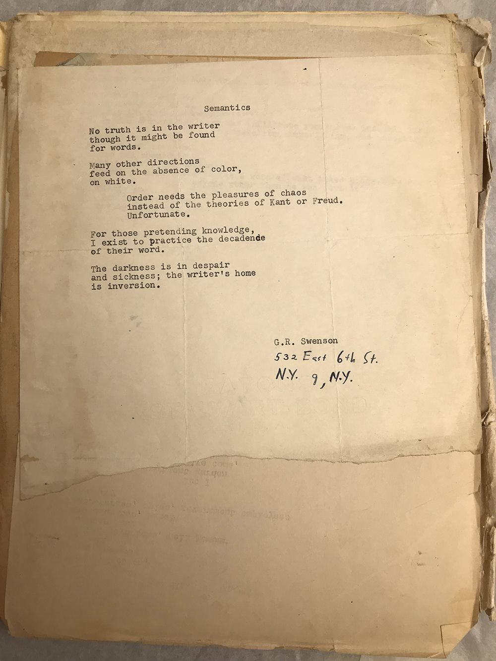 Yellowed page containing a typed poem by Gene Swenson
