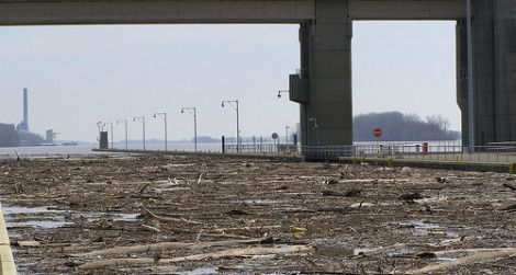 Flood debris on the Ohio River is halted by a dam