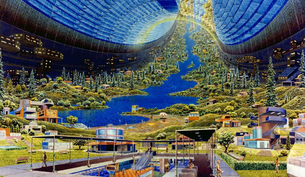 A proposed space colony designed by NASA researchers in the 1970s.