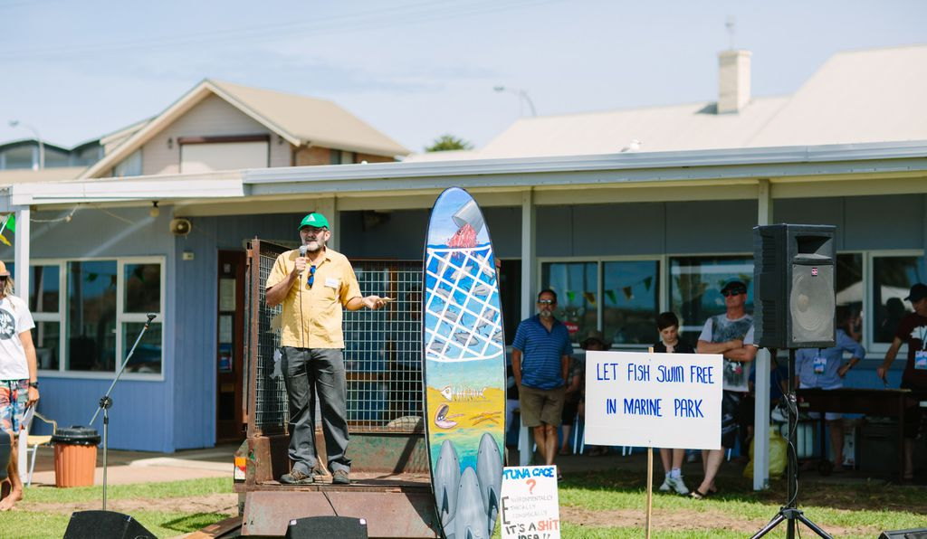 Politician Mark Parnell takes the stage at a protest in Victor Harbor.