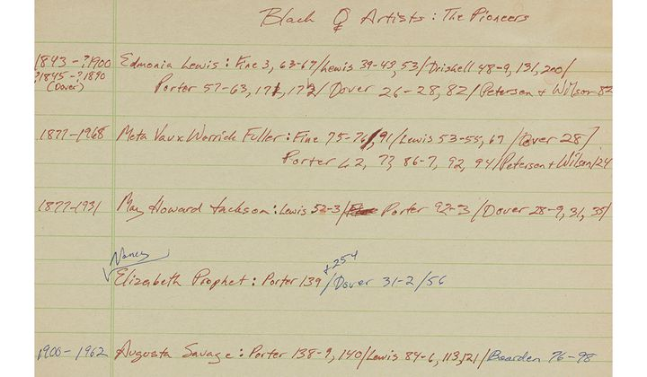 Notes on an unpublished article on black women artists for Essence (detail), circa 1980. Judith Wilson papers, 1966-2010. Archives of American Art, Smithsonian Institution.