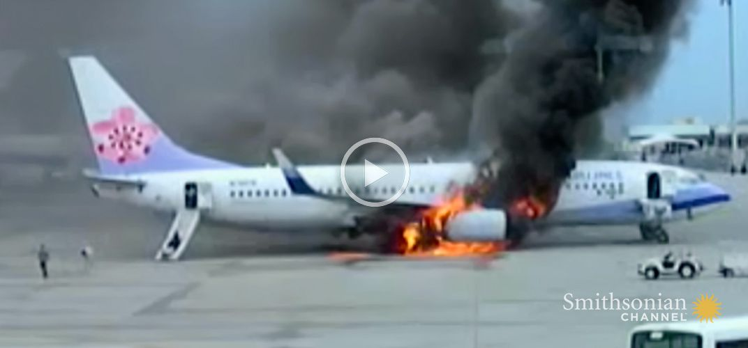 Caption: Footage of the China Airlines Flight 120 Explosion