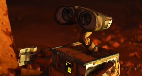 Screenshot of the robot WALL-E from the 2008 Disney/Pixar animated film
