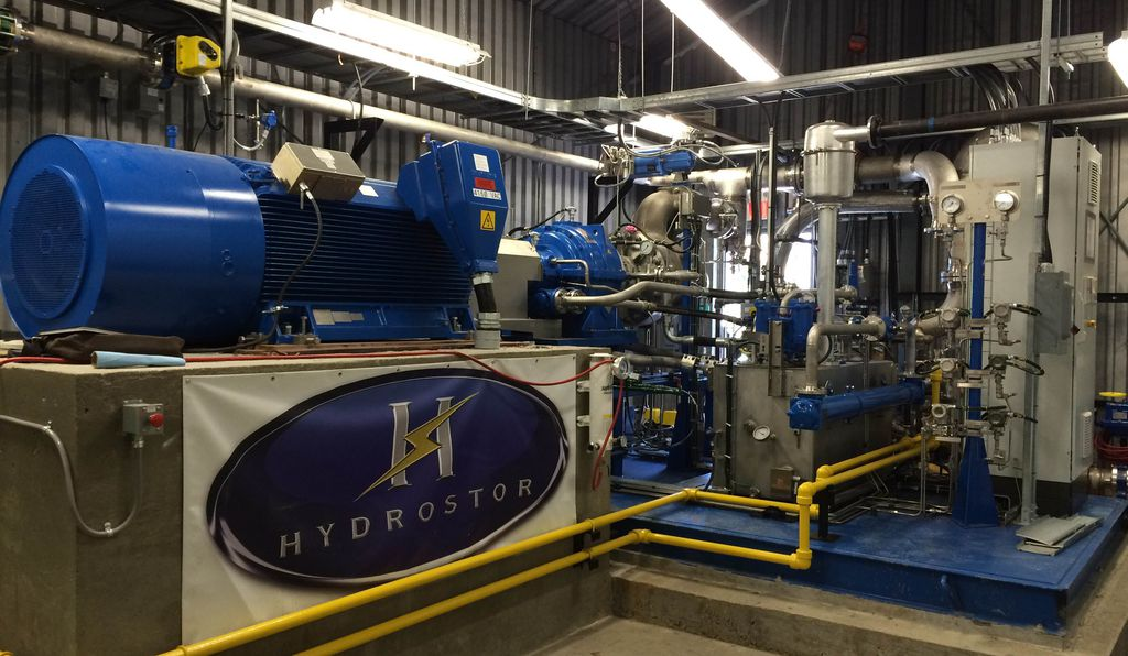 The on-shore Hydrostor facilities house a system of air compressors and turbines to convert energy to compressed air and back.