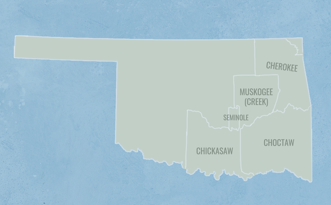Map of Oklahoma Indian reservations