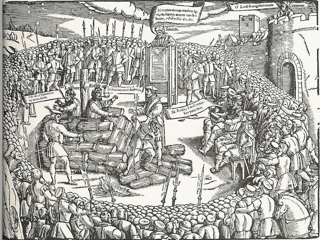 Book of Martyrs woodcut of Latimer and Ridley