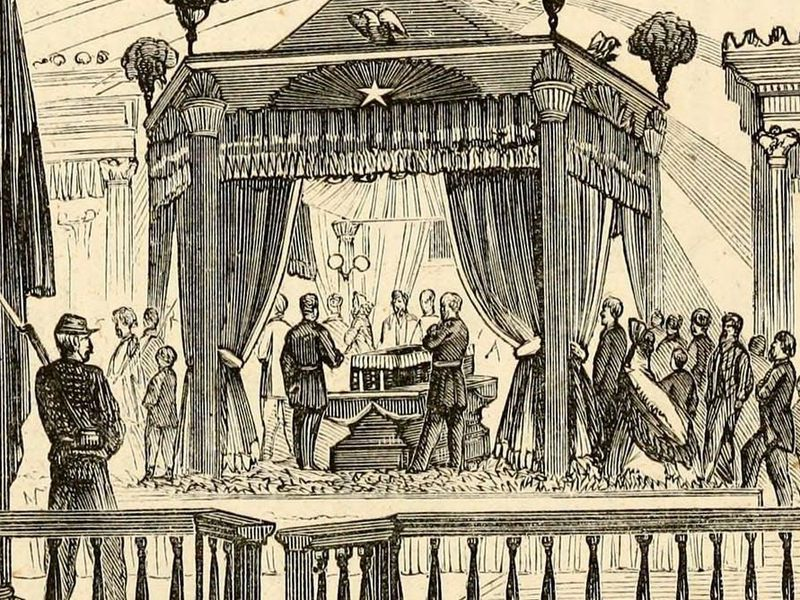 An illustrated depiction of a scene of Lincoln lying in state