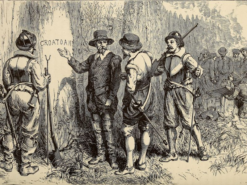 Discovery of abandoned Roanoke colony