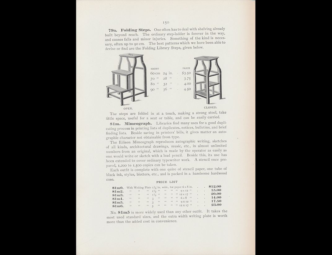 Trade catalog illustration of folding steps.