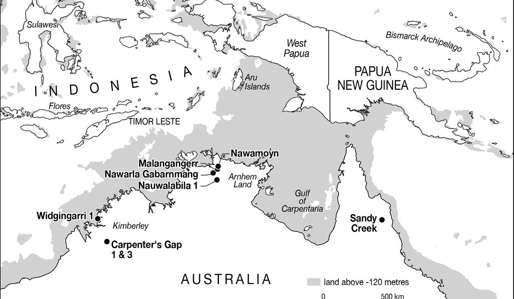 A map of northern Australia, with Carpenter's Gap 1 and other archaeological sites marked, where the fragment was found.