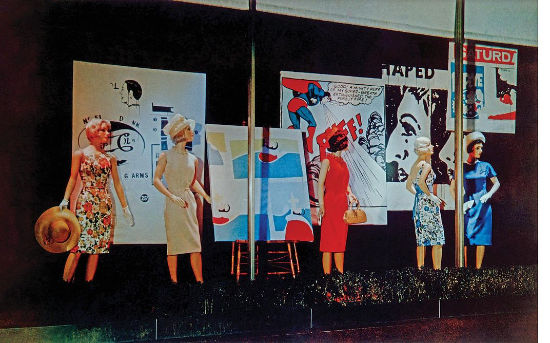 Gunther Jaeckel storefront featuring Andy Warhol works of art