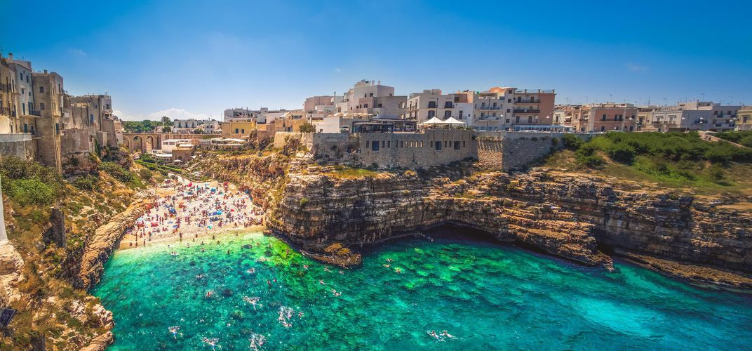The coastal town of Polignano a Mare, Apulia