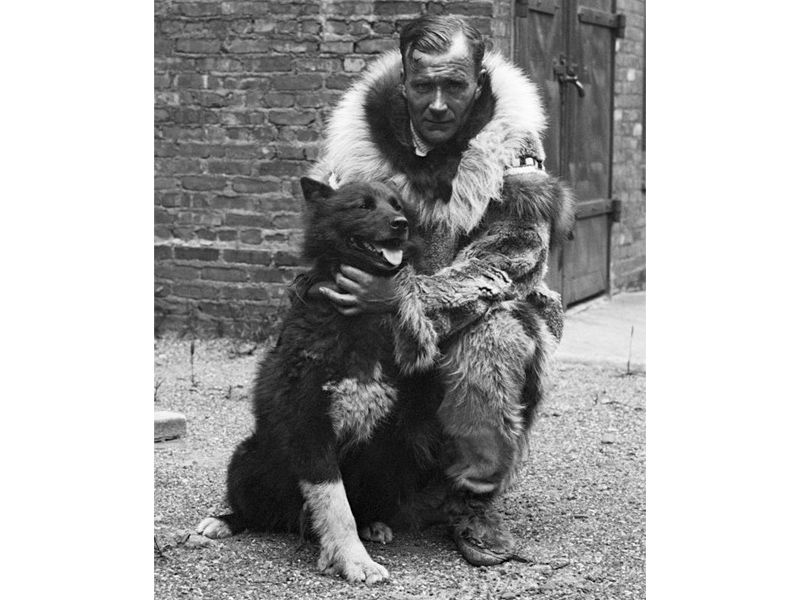 Balto with a man in a fur coat