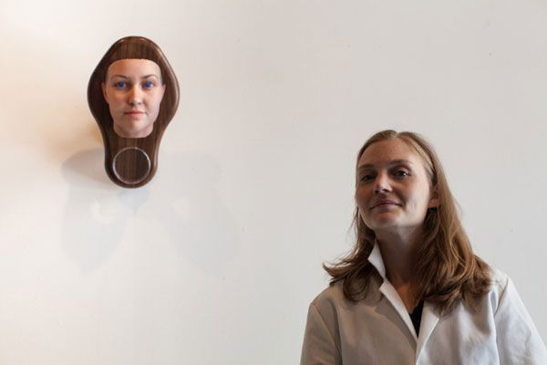 Artist Heather Dewey-Hagborg and her DNA-derived self-portrait.