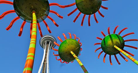"""Sonic Bloom,"" a solar sculpture at the Pacific Science Center in Seattle"