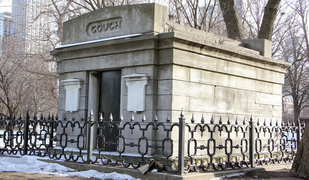 The Couch crypt is the only remaining visible gravesite of the former cemetery in Lincoln Park, and is the oldest surviving structure from the fire.