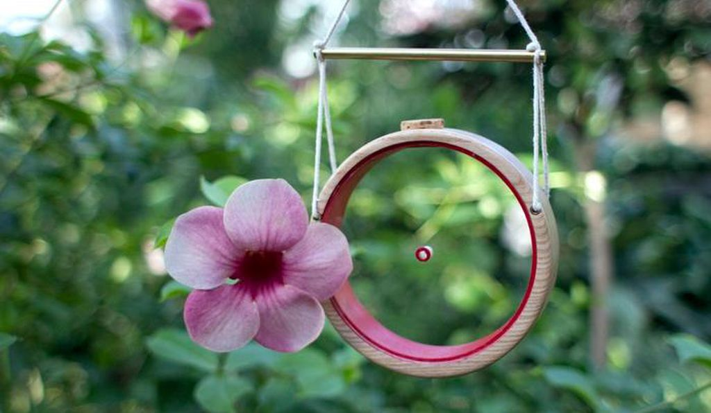 The Hum birdfeeder offers quirky aesthetic appeal for humans and hummingbirds.