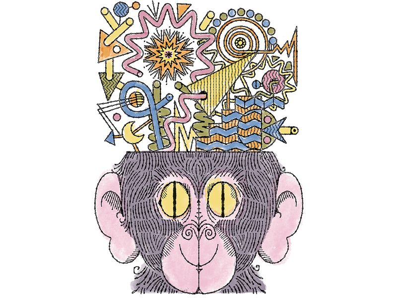 Ape Psychology Illustration