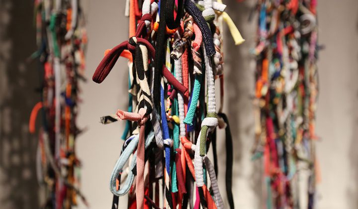 strings of material tied together.
