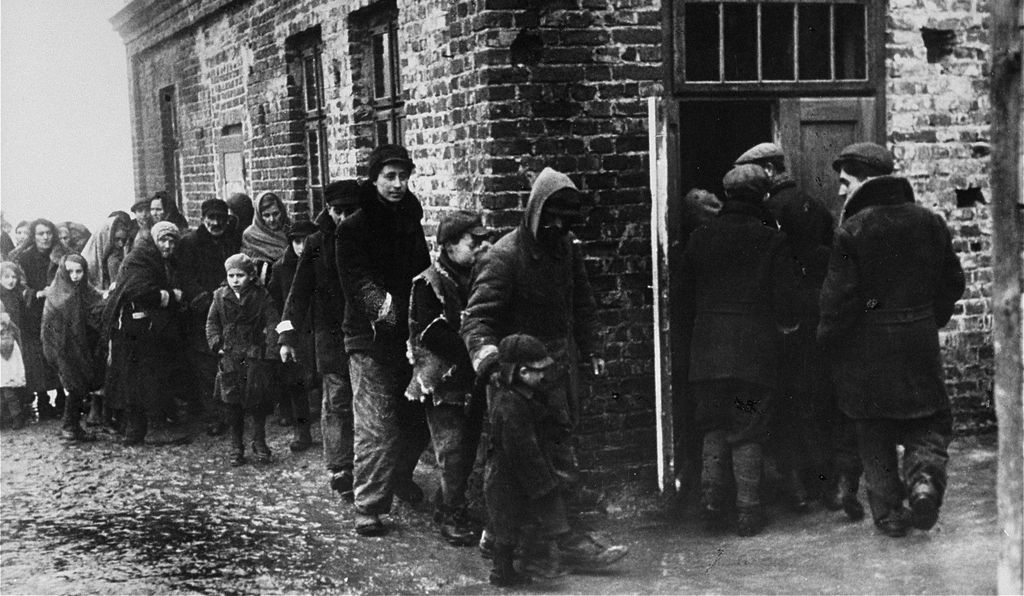 Polish Jews awaiting their turn in the ghetto soup kitchen; starvation and disease went hand-in-hand in the Warsaw Ghetto