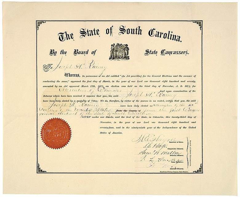 The state certificate declaring Rainey a U.S. representative