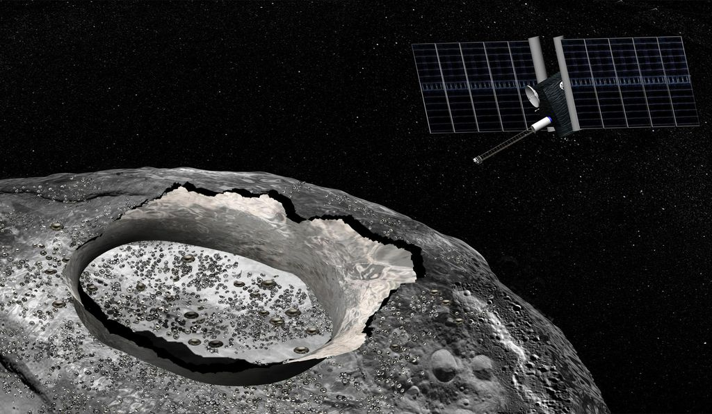An artist's impression of a proposed mission to Psyche, an asteroid thought to be entirely metal.