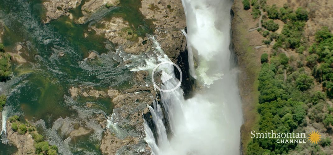 Caption: Stunning Aerial Footage of Victoria Falls
