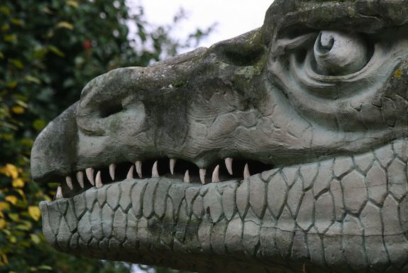 Like this dinosaur, but not made of stone.
