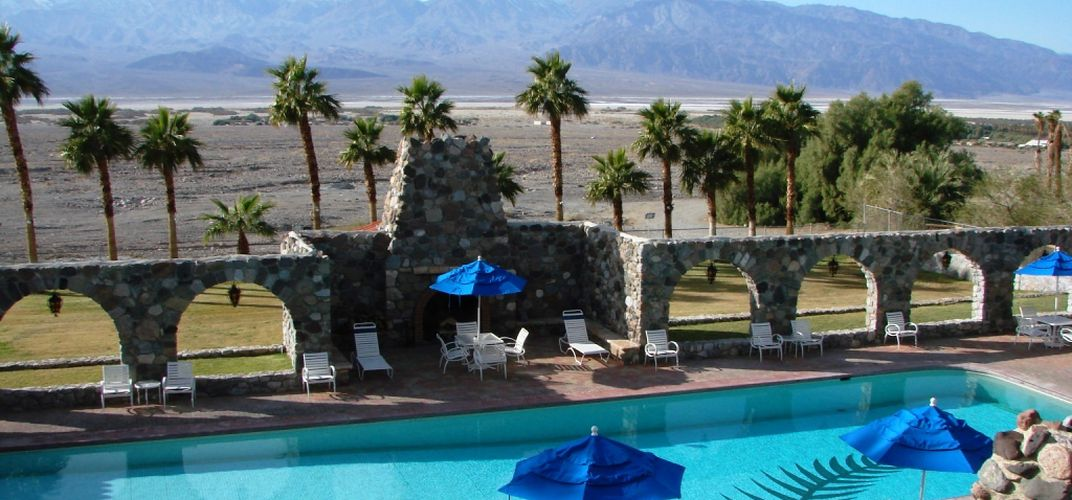 The relaxing pool of the Furnace Creek Inn
