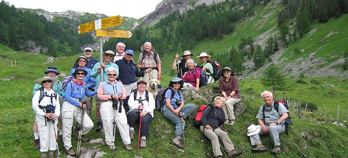 Smithsonian travelers on a hike in Europe
