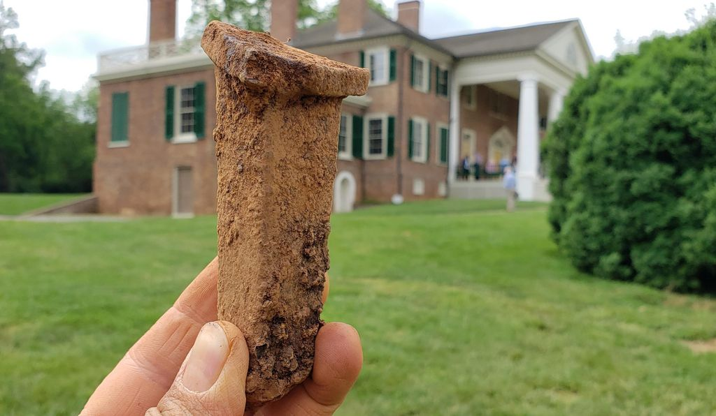 Part of a cookpot found in 2019 at James Madison's Montpelier in Virginia
