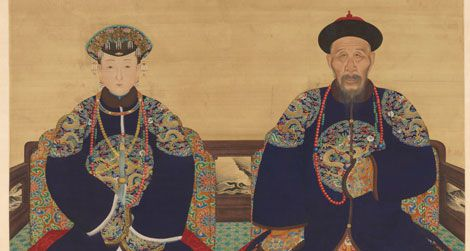 A hanging scroll painting depicts Yinti, Prince Xun (1688-1755) and his wife.