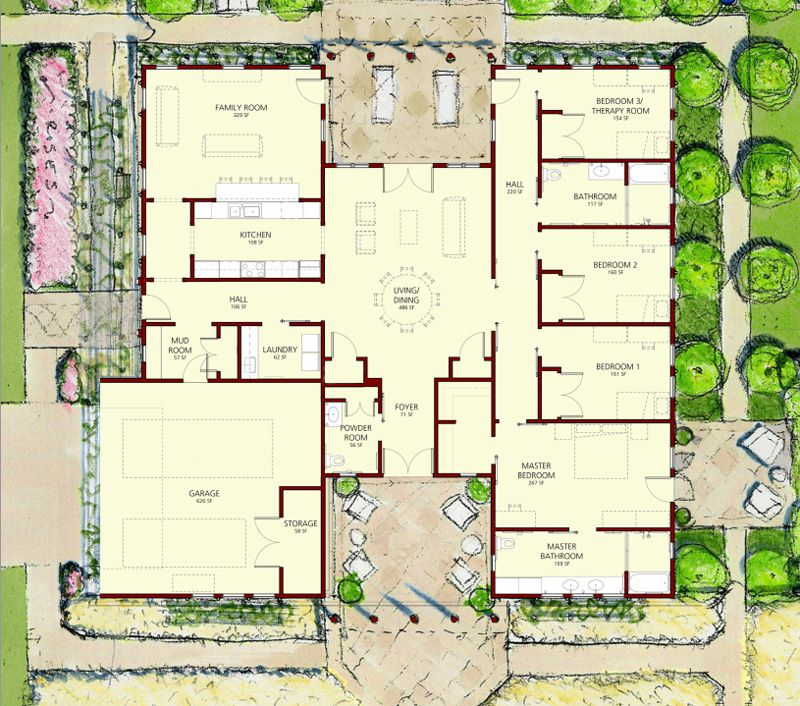 "Michael Graves & Associates, Floor Plan for the ""Patriot"" Wounded Warrior Home"