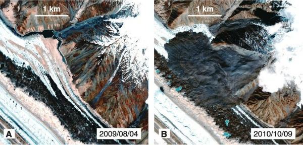 Pre- and post-views of landlsides that slid in 2010 on Siachen Glacier in northern Pakistan.