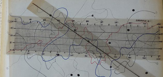 "The score for John Cage's indeterminate composition ""Fontana Mix"""