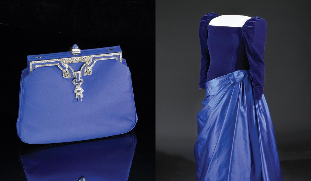 Barbara Bush's royal blue purse and velvet and satin gown that she wore to the 1989 inaugural balls.