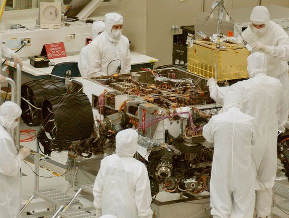 The NASA team assembling Curiosity back in 2011.