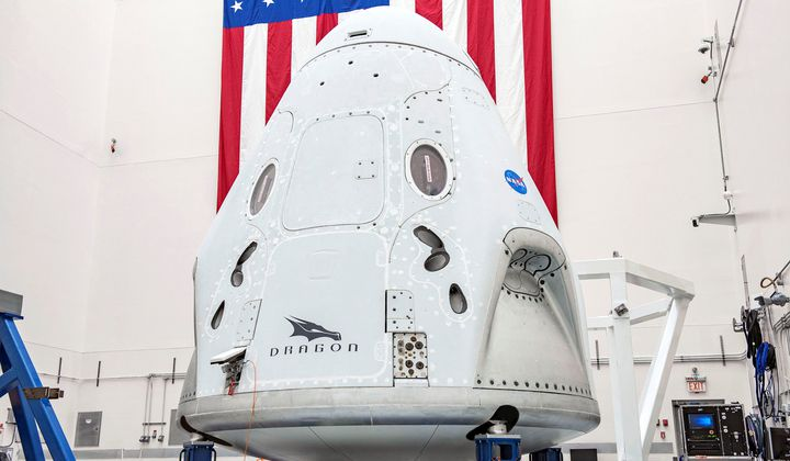 Space X's Crew Dragon spacecraft, which is part of NASA's Commercial Crew Program.