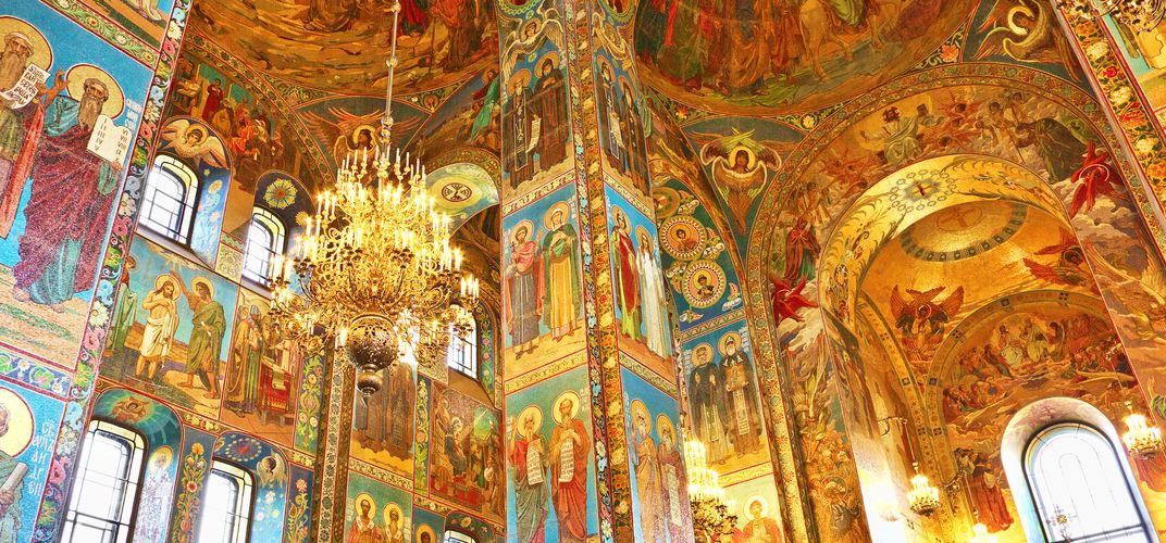 The magnificent interior of the Church of the Savior on Spilled Blood, St. Petersburg