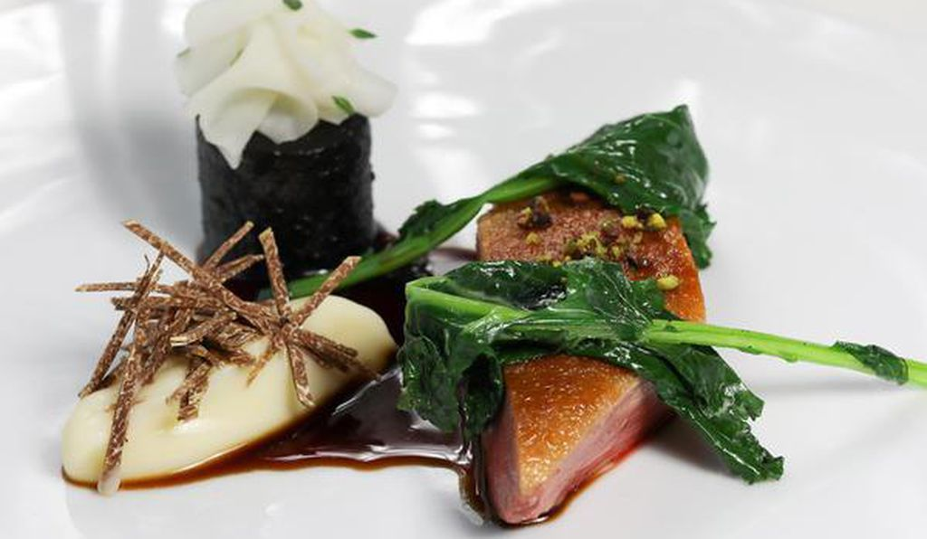 The duck and turnips main course on the