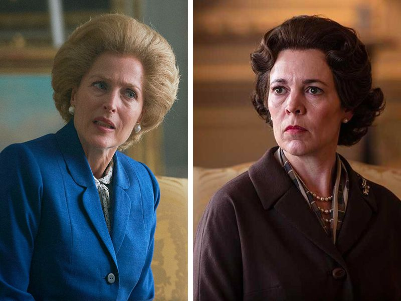 Gillian Anderson as Margaret Thatcher and Olivia Colman as Elizabeth II