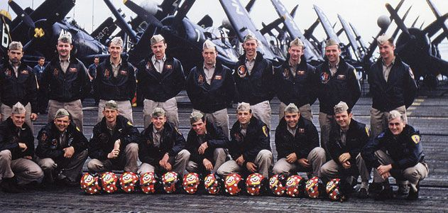 The squadron pilots pose on Valley Forge in July 1952