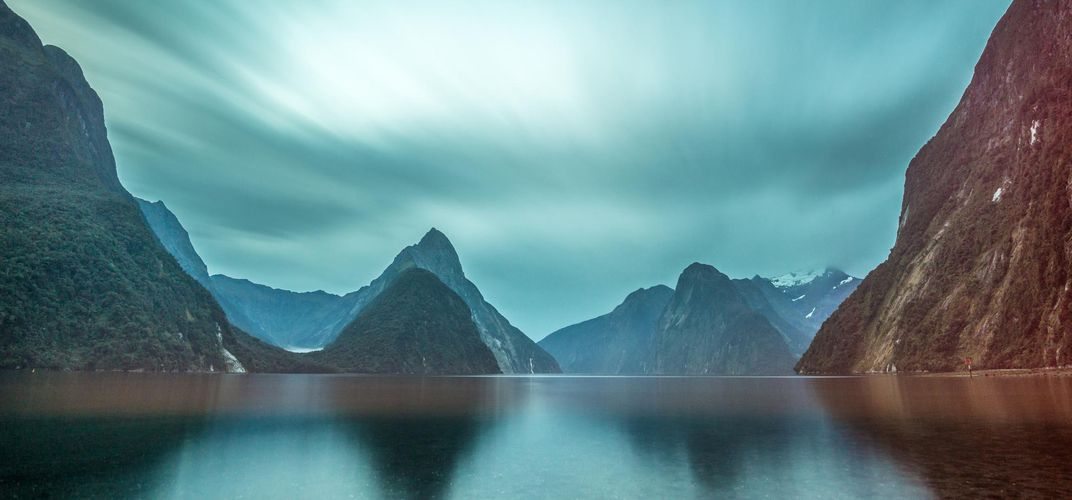 The peaks surrounding Milford Sound, New Zealand