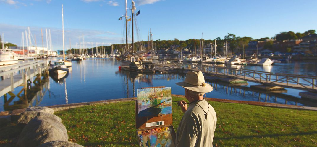 Artist at work in Camden. Credit: Courtesy Maine Tourism Bureau