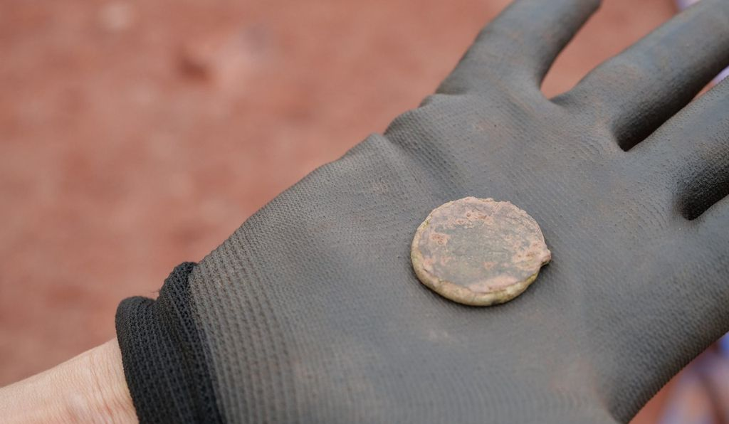 A coin found at the excavation site