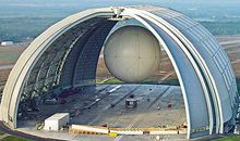 CargoLifter built the world's largest free-standing building, big enough to hold 14 Boeing 747s, for its prototype CL-75 airship.