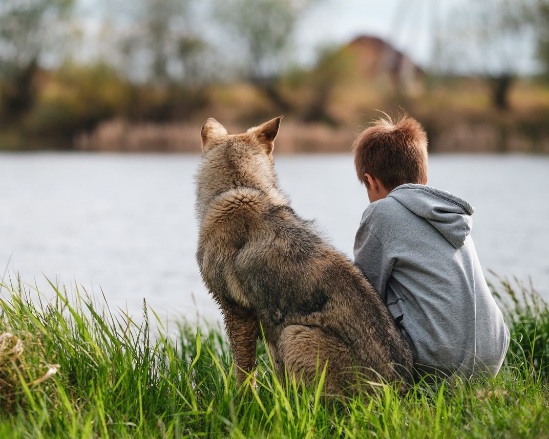 A boy and a dog sit next to a body of water.