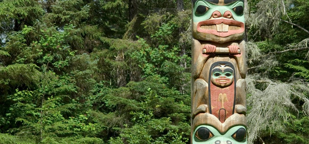 Totem at Sitka National Historic Park. Credit: Matt Hage/Alaska Tourism Bureau