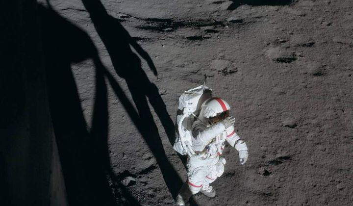 Alan Shepard on the lunar surface of the Moon during Apollo 14 mission. Photographed by Edgar D. Mitchell still inside Antares. (NASA)